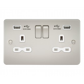 Knightsbridge FPR9902PLW Flat plate 13A 2G switched socket with dual USB charger - pearl with white insert