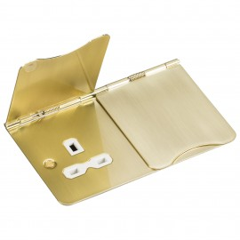 Knightsbridge FPR9UBBW 13A 2G unswitched floor socket - brushed brass with white insert