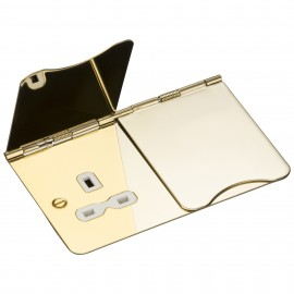 Knightsbridge FPR9UPBW 13A 2G unswitched floor socket - polished brass with white insert