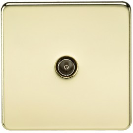 Knightsbridge SF0100PB 1G TV Coax Outlet Non-Isolated Polished Brass