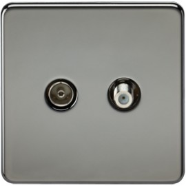 Knightsbridge SF0140BN 1G Sat/TV Outlet Isolated Black Nickel