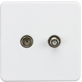 Knightsbridge SF0140MW Screwless 1G TV and SAT TV outlet (isolated) - Matt white