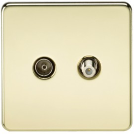 Knightsbridge SF0140PB 1G Sat/TV Outlet Isolated Polished Brass