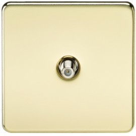 Knightsbridge SF0150PB 1G Sat/TV Outlet Non-Isolated Polished Brass