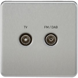 Knightsbridge SF0160BC 1G TV/FM DAB Screened Duplex Outlet Brushed Chrome