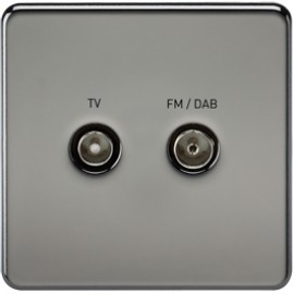 Knightsbridge SF0160BN 1G TV/FM DAB Screened Duplex Outlet Black Nickel