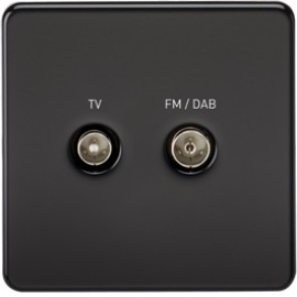 Knightsbridge SF0160MB 1G TV/FM DAB Screened Duplex Outlet Matt Black