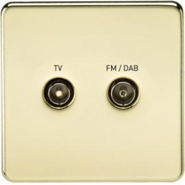 Knightsbridge SF0160PB 1G TV/FM DAB Screened Duplex Outlet Polished Brass