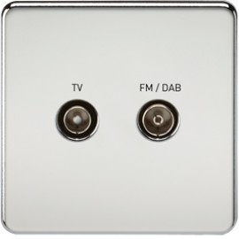 Knightsbridge SF0160PC 1G TV/FM DAB Screened Duplex Outlet Polished Chrome