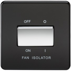 Knightsbridge SF1100MB 10A 3 Pole Fan Isolator Switch Matt Black