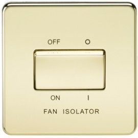 Knightsbridge SF1100PB 10A 3 Pole Fan Isolator Switch Polished Brass