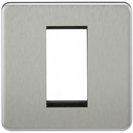 Knightsbridge SF1GBC Screwless 1G Modular Faceplate - Brushed Chrome