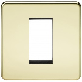 Knightsbridge SF1GPB Screwless 1G Modular Faceplate - Polished Brass