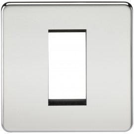 Knightsbridge SF1GPC Screwless 1G Modular Faceplate - Polished Chrome