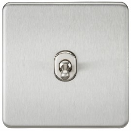 Knightsbridge SF1TOGBC Screwless 10A 1G 2-Way Toggle Switch - Brushed Chrome
