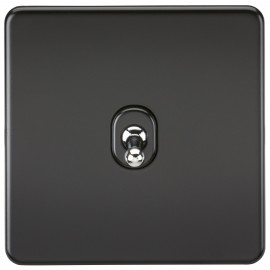 Knightsbridge SF1TOGMB Screwless 10A 1G 2-Way Toggle Switch - Matt Black