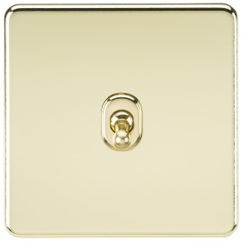 Knightsbridge SF1TOGPB Screwless 10A 1G 2-Way Toggle Switch - Polished Brass