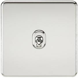 Knightsbridge SF1TOGPC Screwless 10A 1G 2-Way Toggle Switch - Polished Chrome