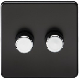 Knightsbridge SF2162MB 2G 2 Way Dimmer 400W Matt Black