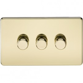 Knightsbridge SF2163PB 3G 2 Way Dimmer 400W Polished Brass