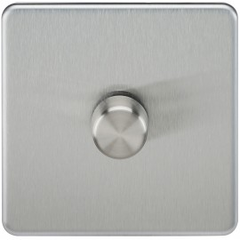 Knightsbridge SF2171BC Screwless 1G 2-Way 40-400W Dimmer Switch - Brushed Chrome
