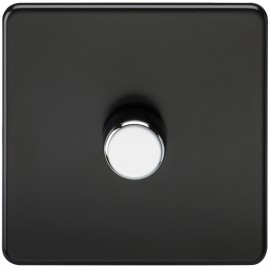 Knightsbridge SF2171MB Screwless 1G 2-Way 40-400W Dimmer Switch - Matt Black