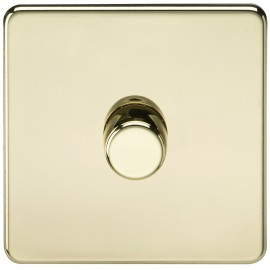 Knightsbridge SF2171PB Screwless 1G 2-Way 40-400W Dimmer Switch - Polished Brass