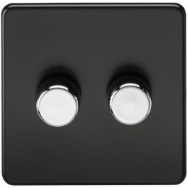 Knightsbridge SF2172MB Screwless 2G 2-Way 40-400W Dimmer Switch - Matt Black