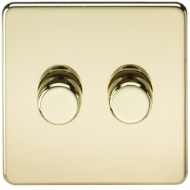 Knightsbridge SF2172PB Screwless 2G 2-Way 40-400W Dimmer Switch - Polished Brass
