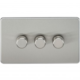 Knightsbridge SF2173BC Screwless 3G 2-Way 40-400W Dimmer Switch - Brushed Chrome