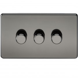 Knightsbridge SF2173BN Screwless 3G 2-Way 40-400W Dimmer Switch - Black Nickel