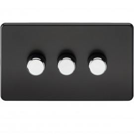 Knightsbridge SF2173MB Screwless 3G 2-Way 40-400W Dimmer Switch - Matt Black