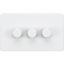 Knightsbridge SF2173MW Screwless 3G 2-Way 40-400W Dimmer Switch - Matt White