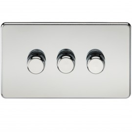 Knightsbridge SF2173PC Screwless 3G 2-Way 40-400W Dimmer Switch - Polished Chrome