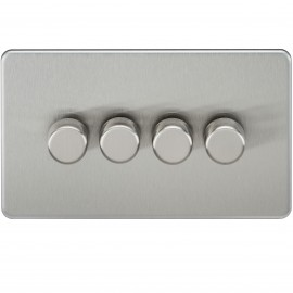 Knightsbridge SF2174BC Screwless 4G 2-Way 40-400W Dimmer Switch - Brushed Chrome
