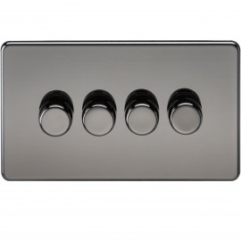 Knightsbridge SF2174BN Screwless 4G 2-Way 40-400W Dimmer Switch - Black Nickel