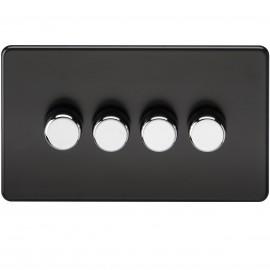 Knightsbridge SF2174MB Screwless 4G 2-Way 40-400W Dimmer Switch - Matt Black