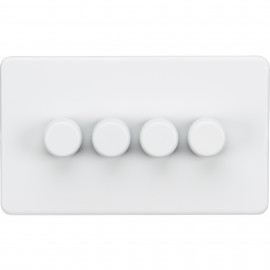 Knightsbridge SF2174MW Screwless 4G 2-Way 40-400W Dimmer Switch - Matt White