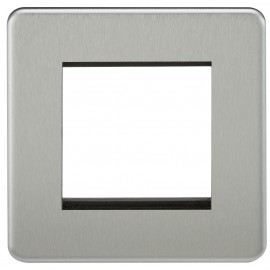 Knightsbridge SF2GBC Screwless 2G Modular Faceplate - Brushed Chrome
