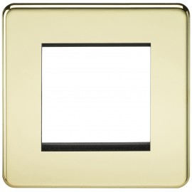 Knightsbridge SF2GPB Screwless 2G Modular Faceplate - Polished Brass