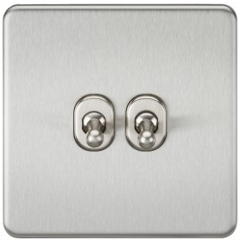 Knightsbridge SF2TOGBC Screwless 10A 2G 2-Way Toggle Switch - Brushed Chrome