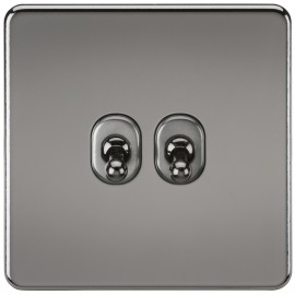 Knightsbridge SF2TOGBN Screwless 10A 2G 2-Way Toggle Switch - Black Nickel