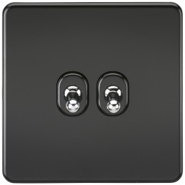 Knightsbridge SF2TOGMB Screwless 10A 2G 2-Way Toggle Switch - Matt Black