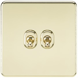 Knightsbridge SF2TOGPB Screwless 10A 2G 2-Way Toggle Switch - Polished Brass