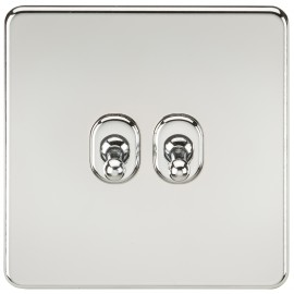Knightsbridge SF2TOGPC Screwless 10A 2G 2-Way Toggle Switch - Polished Chrome