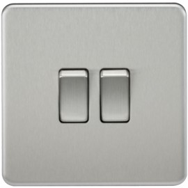 Knightsbridge SF3000BC 10A 2G 2 Way Switch Brushed Chrome