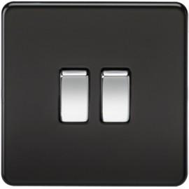 Knightsbridge SF3000MB 10A 2G 2 Way Switch Matt Black
