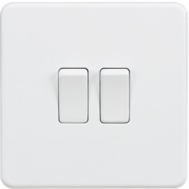 Knightsbridge SF3000MW Screwless 10A 2G 2-Way Switch - Matt White