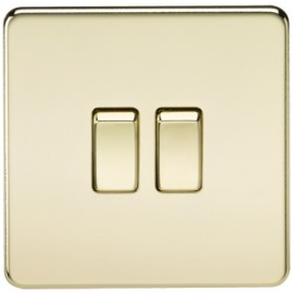 Knightsbridge SF3000PB 10A 2G 2 Way Switch Polished Brass