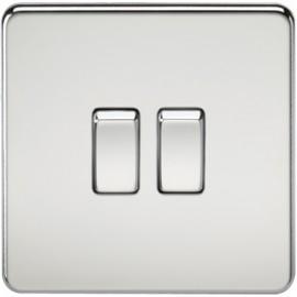 Knightsbridge SF3000PC 10A 2G 2 Way Switch Polished Chrome